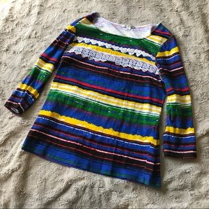 Erin London Rainbow Lace Top Size Small